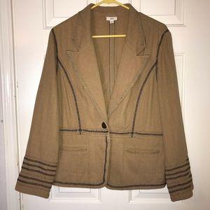 J.Jill Beige Jacket Unique Design Linen/Cotton